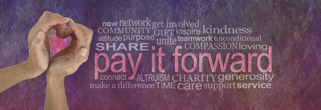 Photo pour PAY IT FORWARD with love word cloud - campaign banner with female hands making a heart shape on left with a PAY IT FORWARD word cloud beside on a rustic parchment background - image libre de droit