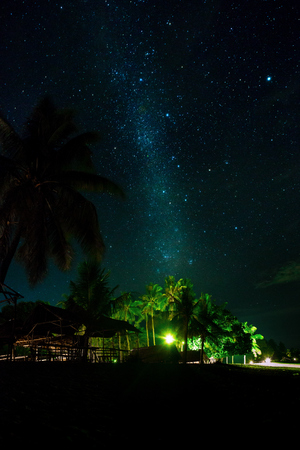 Night sky over coconut palm trees on a beach, rocks, sea or ocean. The night sky with stars, meteorites, milky way and clouds. Night star photography with long exposure. Illustration of travel.
