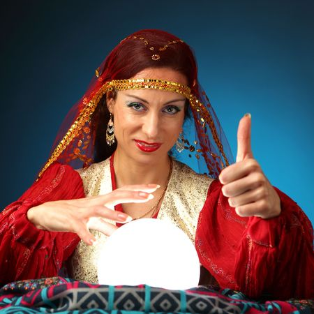 fortune-teller showing everything will be all right: Royalty-free