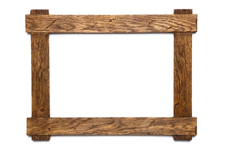 empty wooden photo frame isolated on white