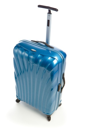 blue modern travel case isolated on white