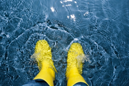 rubber boots splashing in the water