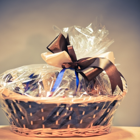 vintage gift basket against blue background