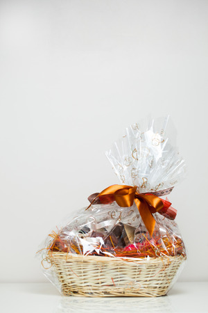 gift basket against light beige background