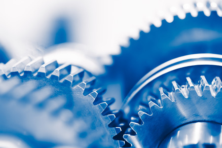 Photo pour industry background with blue gear wheels - image libre de droit
