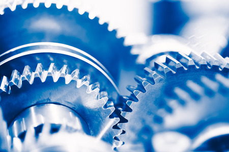 Foto de industry background with blue gear wheels - Imagen libre de derechos
