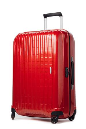 Photo pour red carbon suitcase isolated on white - image libre de droit