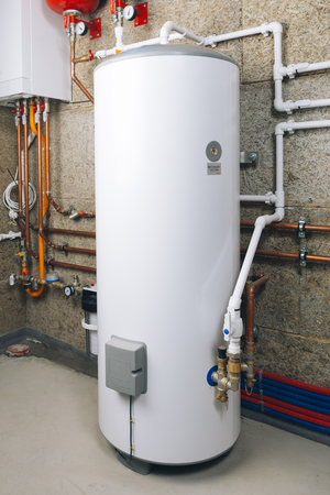 Photo for water heater in modern boiler room - Royalty Free Image