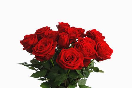 Photo pour red roses bouquet on white background, fifteen flowers - image libre de droit