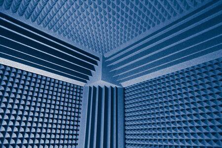 Photo pour acoustic foam absorber and bass traps for sound dampering blue background - image libre de droit