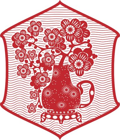 Illustration pour Traditional Chinese red paper clippings, imitation. Sakura branches in a jug - image libre de droit