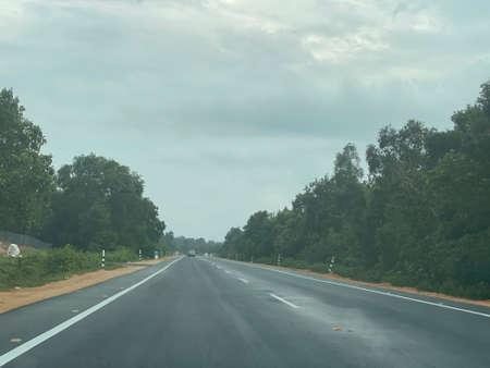 Photo pour Scenery view on the road from Jalan Saujana to Jalan Seri Tembila via beach road. - image libre de droit