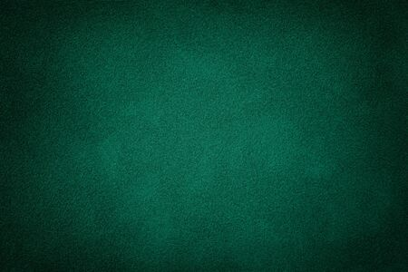 Photo for Dark green matte background of suede fabric, closeup. Velvet texture of seamless deep emerald leather. Felt material macro with vignette. - Royalty Free Image