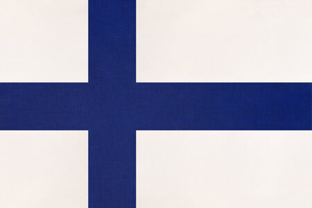 Photo pour Finland national fabric flag, textile background. Symbol of international european scandinavian world country. Finnish state official sign, - image libre de droit