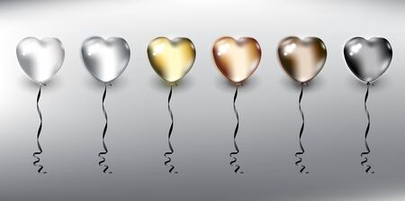Illustration for Set of 6 metallic helium balloons in form of hearts. Inflatable air flying balloons. Isolated with realistic, transparent glass shine and shadow on the light background. Vector illustration. Eps10. - Royalty Free Image
