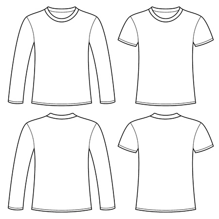 Long Sleeved T Shirt And T Shirt Template Lizenzfreie Vektorgrafiken