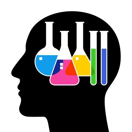 SIlhouette of head with laboratory glassware