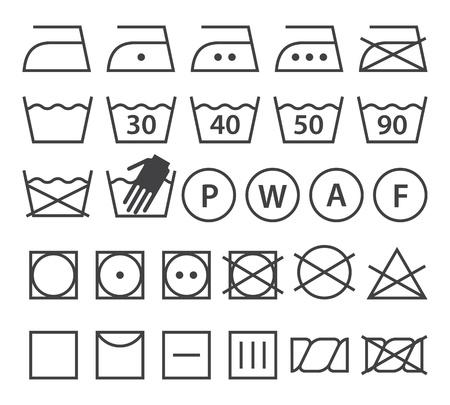 Set of washing symbols (Laundry icons) isolated on white background