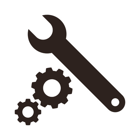 Wrench and gears icon isolated on white background