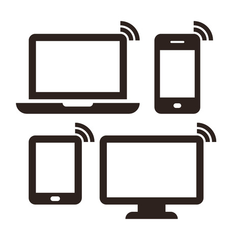 Laptop, mobile phone, tablet, monitor and wireless network icon set isolated on white background