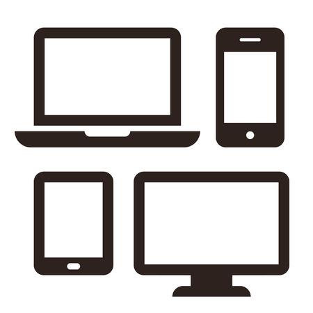 Ilustración de Laptop, mobile phone, tablet and monitor icon set isolated on white background - Imagen libre de derechos