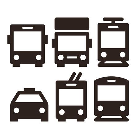Foto de Public transport icons - bus, truck, streetcar, taxi, trolley bus and train - Imagen libre de derechos
