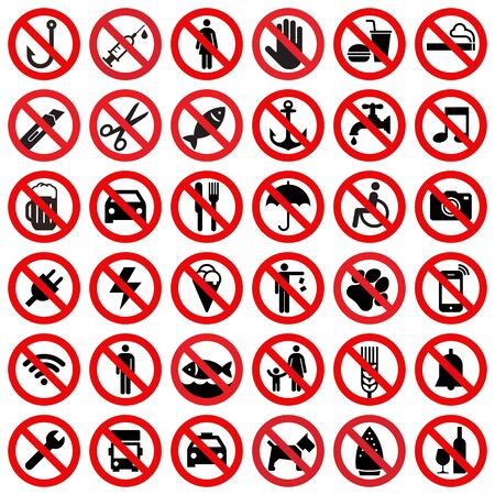 Illustration pour Set of prohibited sign isolated on white background - image libre de droit