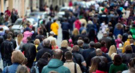 Photo for Crowd of people at the street, city center - Royalty Free Image