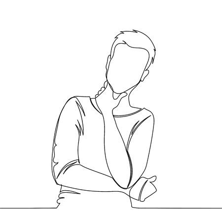 Ilustración de Man is thinking. Vector illustration thinking man - continuous line drawing - Imagen libre de derechos