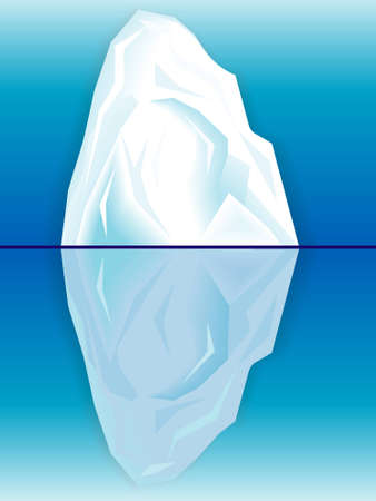 Ice iceberg and its reflection in the sea