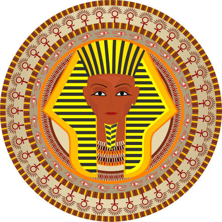 Stylization a background with the pharaon of Egypt in a vector