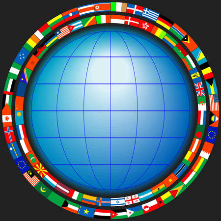 The globe in a frame of flags of the states in a vector