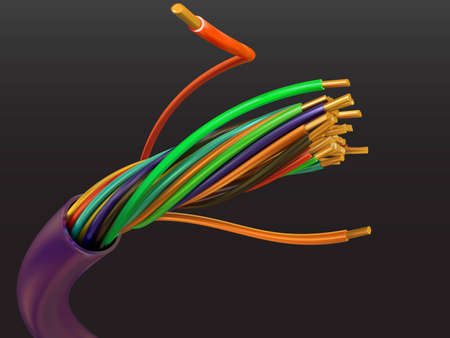 Electric cable from a copper wire in a vector