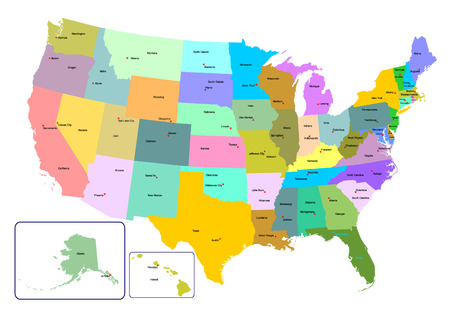 Colorful USA map with states and capital cities. Vector illustration