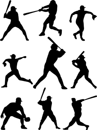 baseball players collection 3 vector