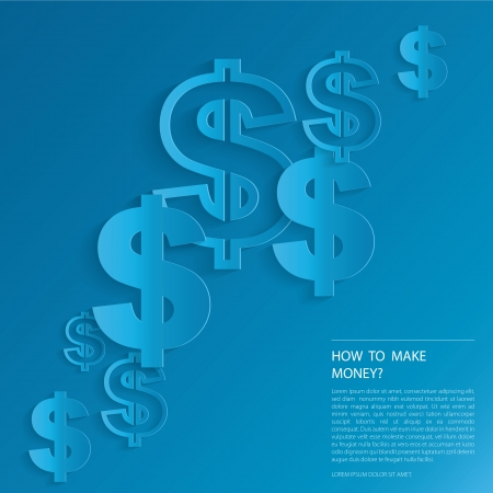 Dollar Signs on blue background.