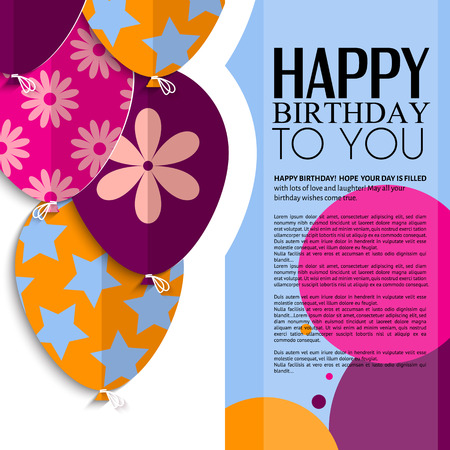 Ilustración de Vector birthday card with paper balloons and text  - Imagen libre de derechos