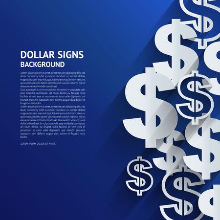 Illustration pour Vector illustration. Dollar signs on blue background. - image libre de droit