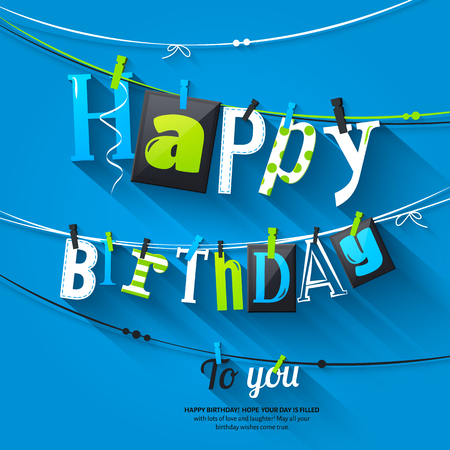 Illustration for Birthday card. Clothespin and colorful letters hang on rope. - Royalty Free Image
