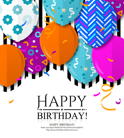 Illustration for Happy Birthday greeting card with patterned balloons in flat style. Confetti and black stripes on background. Vector. - Royalty Free Image