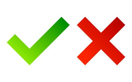 Illustration pour Check mark. Green tick symbol and red cross sign. Icons for evaluation quiz. Vector. - image libre de droit