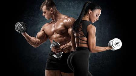 Foto für Sporty couple workout with dumbbells. Muscular man and woman showing muscles - Lizenzfreies Bild