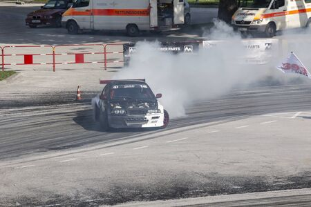 Photo pour PLOVDIV, BULGARIA - JUNE 08, 2019 - Aerial view of drift car racing and time attack competition in Plovdiv city in Bulgaria - image libre de droit