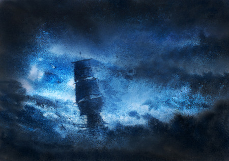 Photo for sailboat in distress in night storm - Royalty Free Image