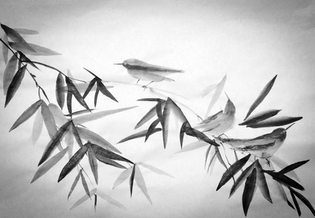 bamboo branch and three little birds