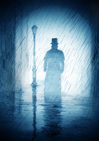 Photo pour man in a top hat and coat - image libre de droit