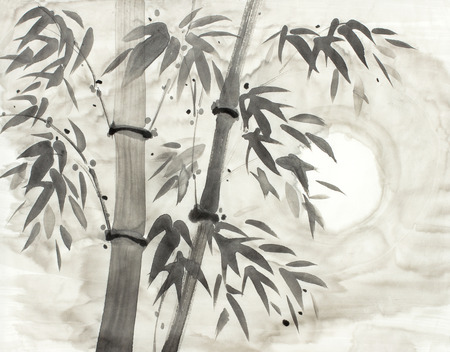 Photo pour bamboo and moon drawn in chinese style - image libre de droit