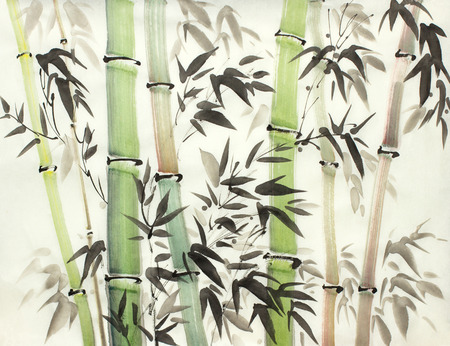 Photo pour bright bamboo forest painted in chinese style - image libre de droit
