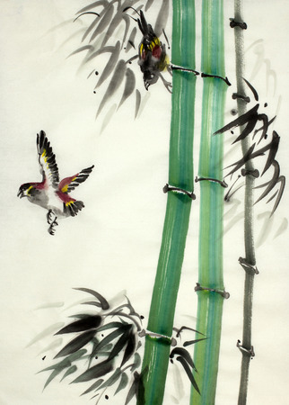 bamboo and birds in flight