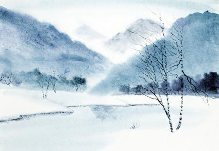 Foto de winter mountain landscape and river - Imagen libre de derechos